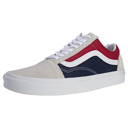 Vans Old Skool Retro Mens Trainers White Navy Red W22C1a