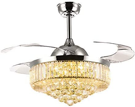 Retractable Ceiling Fans with Lights and Remote Invisible Crystal Chandelier Lighting Dimmable LED 3 Color Changing Chrome Finish 42