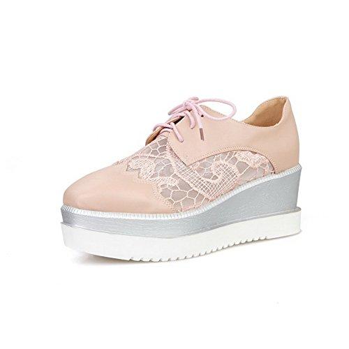 AllhqFashion Damen Quadratisch Zehe Blend-Materialien Rein Schnüren Pumps Schuhe Pink