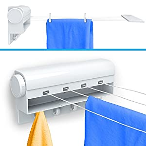Wonderful Gideon Indoor 4 Line Retractable Clothesline U2013 Clothes Dryer With 4 Bonus  Hanging Hooks   Instantly Adds 40 Feet Of Drying Space U2013 Includes 10 Free  ...