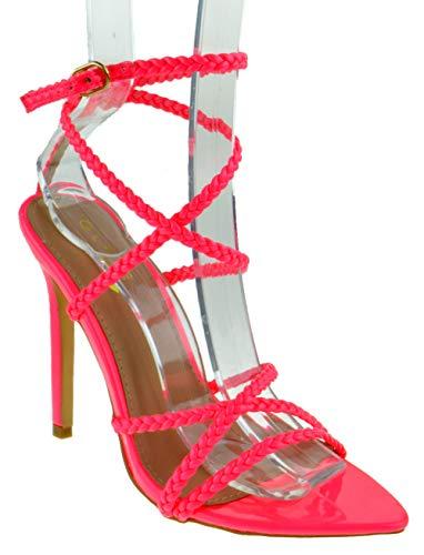 (Glaze Charlotte 1 Womens Strappy Braided Buckle Pointed Toe Platform Heeled Dress Sandals Neon Pink)