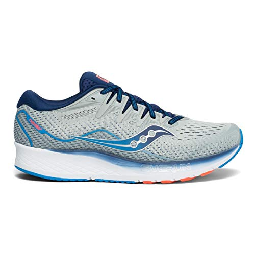 Saucony Men's Ride ISO 2 Running Shoe Grey/Blue 12 W US