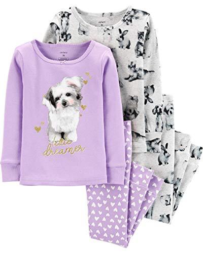 Carter's Toddler and Baby Girls' 4 Piece Cotton Pajama Set, Purple Dog, 5T (Purple Pajamas Cotton)
