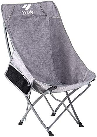 High Back Folding Camping Chairs Lightweight Ottoman Portable Compact Seat for Adults Fishing Travel Picnic Festival Hiking Backpacking