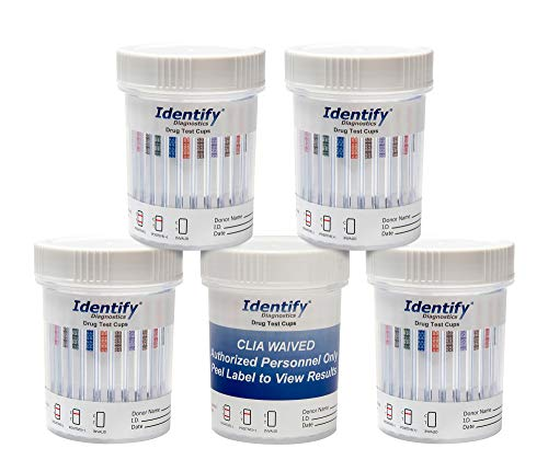 5 Pack Identify Diagnostics 12 Panel Drug Test Cup with BUP Testing Instantly for 12 Different Drugs: THC, COC, OXY, MDMA, BUP, MOP, AMP, BAR, BZO, MET, MTD, PCP #ID-CP12-BUP (5)