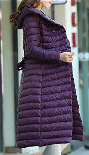 Purple Coat Weight Jacket Parka Down Women's Hooded Puffer with Belt Outwear amp;S amp;W Winter Light Long Packable M 6HYqTBSc