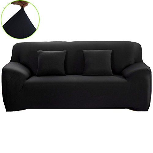 1 Seater Sofa - WOMACO Stretch Fabric Slipcover Pure Color 1 2 3 4 Seater Chair Loveseat Sofa Cover Anti-Mite Pet Dog Cat Protector (Large Sofa (92-115), Black)