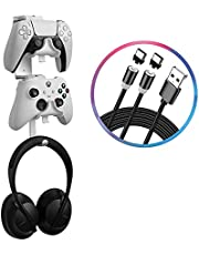 Wabracket 4 in 1 Controller and Headphone Wall Mount Holder Bundle, Universal Wall Mount for PS5/Xbox Series S &X /Switch Pro Game Controller, Stand Bracket Hanger, with a 2 in 1 Type C Charging Cable
