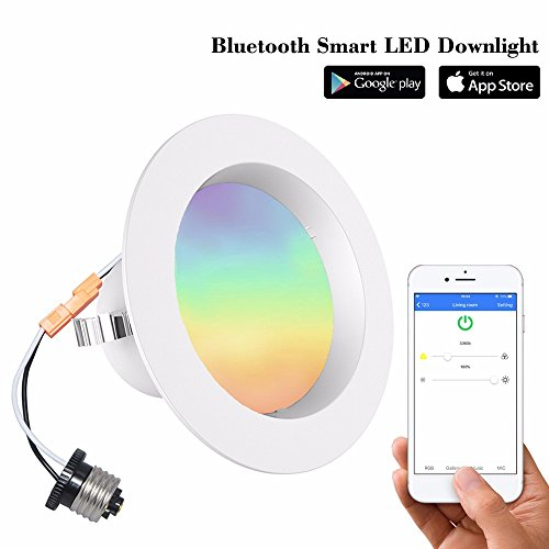 4 Inch Dimmable Bluetooth Smart LED Bulbs Downlight 9W (60W Eq.) Mesh Multicolor Recessed Lights Smartphone Controlled Daylight & Night Light, Home Lighting, No Hub Required