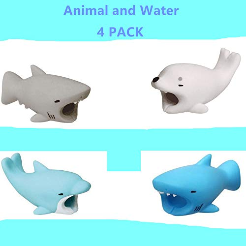 DECVO Cable Protector Compatible with iPhone iPad Android Samsung Galaxy Cable Plastic Cute Ocean Animals Phone Accessory Protects USB Charger Data Protection Cover Chewers Earphone Cord Bite (4 PACK)