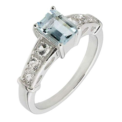 (Art Deco Sterling Silver Emerald Cut Genuine Blue Aquamarine & White Topaz Statement Ring (4/5 C.T.T.W))