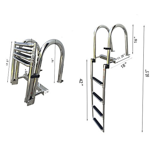 Hoffen Stainless Steel in-Board Swim Fiberglass Platform 4-Steps Ladder Welded Reinforce Folding Docking Ladder