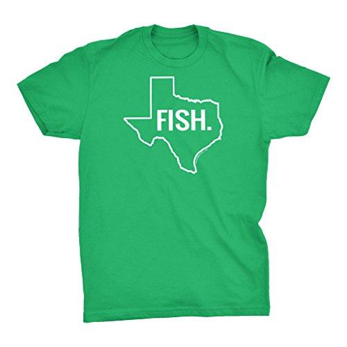 FISH TEXAS - Proud Texan Lone Star State Fishing Sportsman T-Shirt - Kelly Green