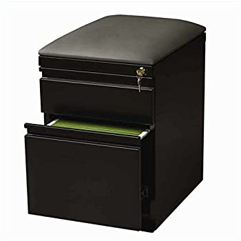 Pemberly Row Mobile Seat Box-File Cabinet in Black