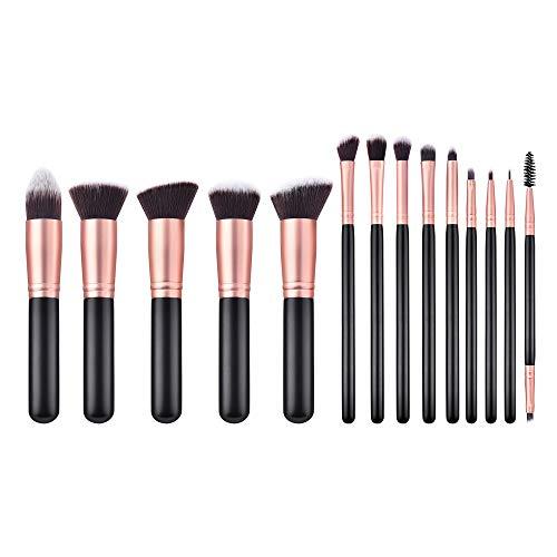 ance Sale GUJHUI 14PCS Black Wooden Cosmetic Makeup Brush Foundation Powder Eyeshadow Brush (Black) ()