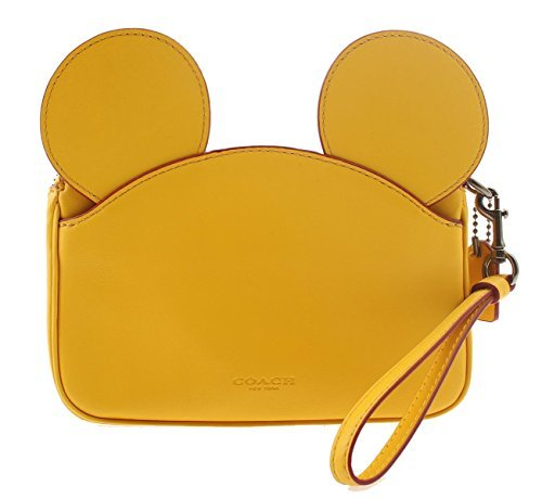 COACH MICKEY Wristlet in Glove Calf Leather with Mickey Ears (Banana) -