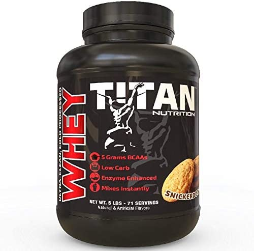 Titan WHEY Premium Whey Protein Powder for Improved Muscle Recovery with 23 Grams of Clean Whey Protein BCAA and Digestive Enzymes Snickerdoodle, 5 lb