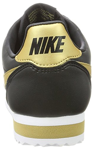 Nike Classic Cortez Leather, Baskets Femme Noir (Black/Metallic Gold)
