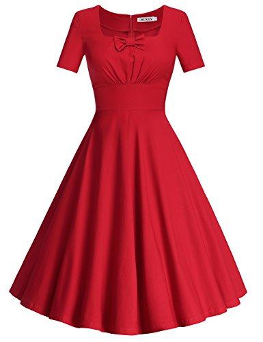 MUXXN Women's 1950s Rockabilly Below Knee Pinup Wedding Vintage Dress (Red S)