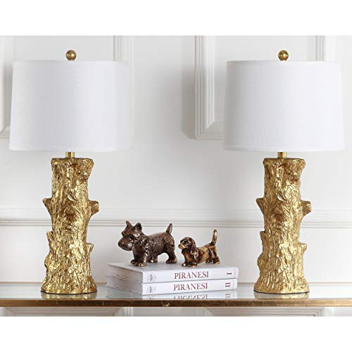 - Safavieh Lighting Collection Arcadia Faux Bois Gold 28.5-inch Table Lamp (Set of 2)