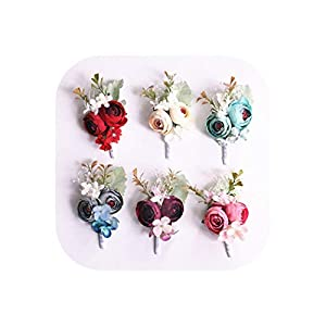 Artificial Silk Flower Groom Boutonniere Bride Wrist Corsage Wedding Hand Flowers Party Suit Decoration 85