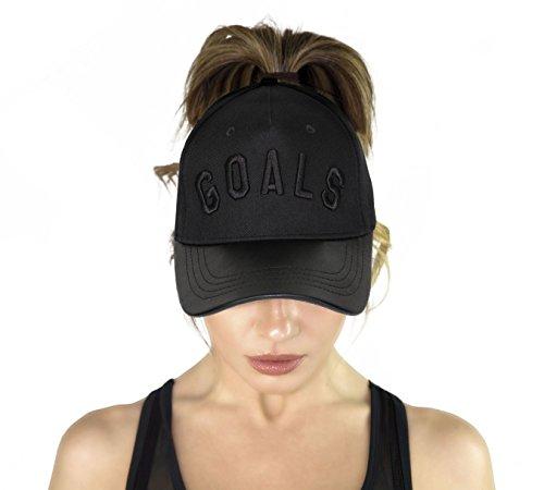 2cedabc424b AB Butter Goals Ponytail Hole Strapback Baseball Cap Dad Hat – Black  Leather Brim