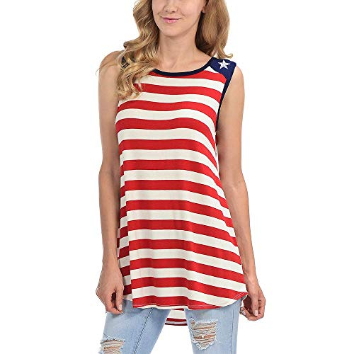 Sharemen Womens Plus Size Flag Sleeveless Tunic Stars and Strips Patriotic Tank Top(Red,L)