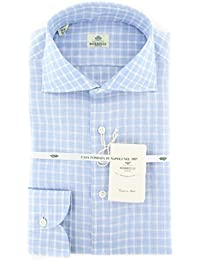 New Borrelli Light Blue Check Extra Slim Shirt