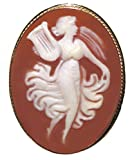 Cameo Broach Pendant Enhancer Master Carved, Goddess of Music Shell Italian Sterling Silver