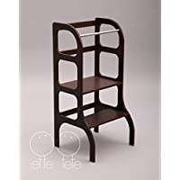 Little helper tower, Montessori learning stool, kitchen step stool - dark BROWN color