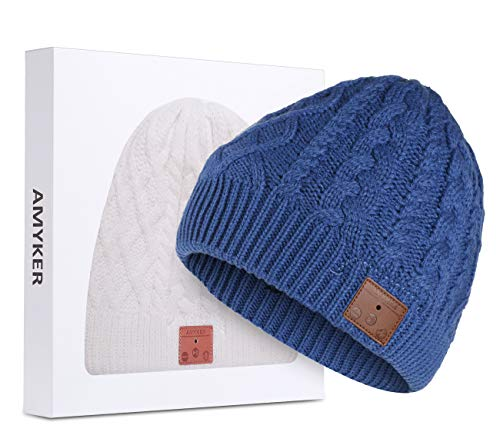 Amyker Bluetooth Beanie, Bluetooth 5.0 Wireless Knit Winter Hats Cap with Detachable Built-in Mic and HD Stereo Speakers for Outdoors Family & Gift-Unisex (02-Blue)