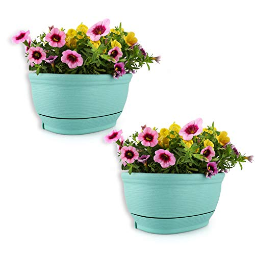 T4U Wall Hanging Planter Pots Outdoor Use Plastic 8.5 Inch Green Set of 2, Small Self Watering Wall Mounted Flowers Plant Basket for Home Garden Porch Balcony Kitchen Wall Decoration Wedding Gift