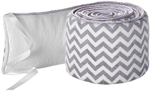 Babykidsbargains Minky Chevron Cradle Bumper, Grey, 18'' x 36'' by babykidsbargains