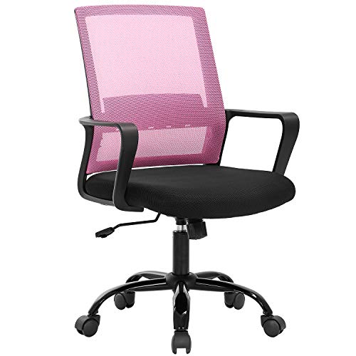 Desk Chair Mesh Office Chair Ergonomic Computer Chair Executive Lumbar Support Adjustable Stool Rolling Swivel Chair,Pink