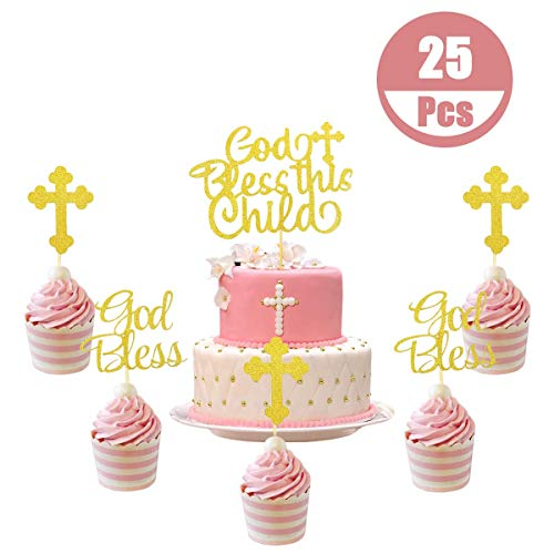 25 Pcs Glitter Gold God Bless This Child Cake Topper, God Bless Baptism and Cross Cupcake Toppers for Christening Dedication Supplies for Children's Theme Party Baby Shower Decorations (Best Theme For Christening)