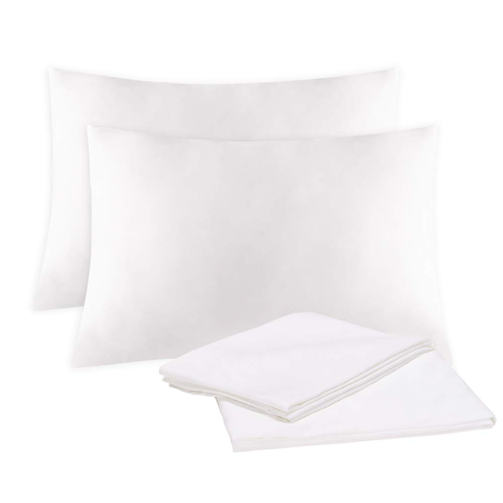 EMME Bamboo Pillowcases Set of 2 Silky and Breathable Bed Pillow Case 100% Viscose Derived from Natural Bamboo Smooth and Ultra Soft Pillowcase Moisture Wicking Pillow Covers (White, Standard)