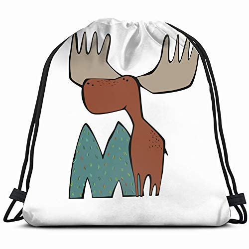moose children abc cute animal alphabet education activity Drawstring Backpack Gym Sack Lightweight Bag Water Resistant Gym Backpack for Women&Men for Sports,Travelling,Hiking,Camping,Shopping Yoga