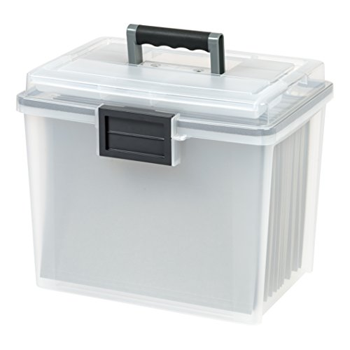 IRIS Letter Size Portable Weathertight File Box, 4 Pack, Clear (Clear Lid Handle)