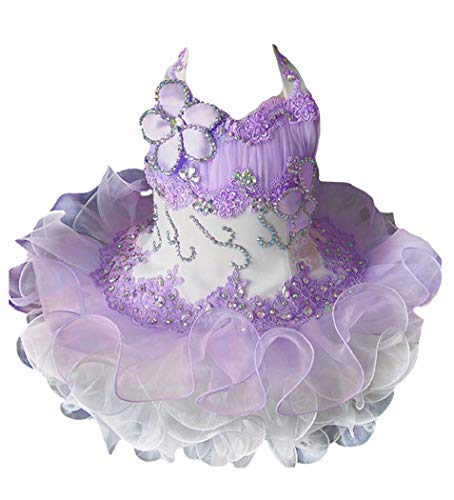 Junguan Infant Girls Halter Lace Appliques Cupcake Pageant Dress Short Birthday Party Ball Gowns with Beadings 4 US Lace_Lavender