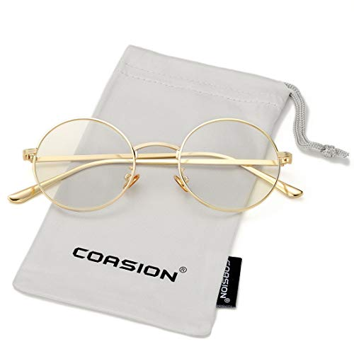 COASION Vintage Round Metal Sunglasses John Lennon Style Small Unisex Sun Glasses (A20 Gold Frame/Clear ()