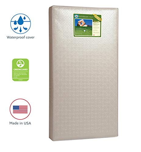 "Sealy Baby Soybean Foam-Core Waterproof Standard Toddler & Baby Crib Mattress - Lightweight Hypoallergenic Soy Foam, Design Pattern May Vary, 51.63"" x 27.25"""