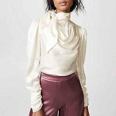 SETGVFG Camisas De Satén para Mujer Blusa Puff De Manga Larga con Cordones Tallas Grandes Tops Mujer Otoño Ropa: Amazon.es: Deportes y aire libre