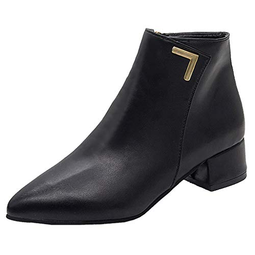 AHAYAKU Women's Fashion Leisure Solid Pointed Toe Med Heels Ankle Boots Shoes 2019 Black