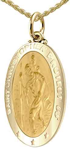 US Jewels And Gems Men's 14k Yellow Gold St Christopher Oval Polished 1