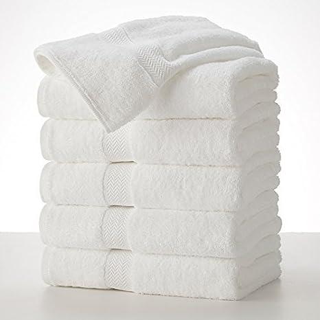 Grandeur Hospitality 6 toallas de baño blancas 100% algodón de 76 cm x 132 cm: Amazon.es: Hogar