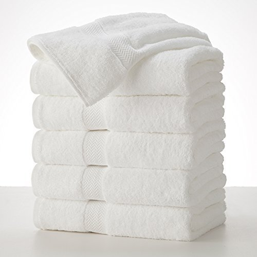 Grandeur Hospitality Bath Towels. 6 Pack. 30inx52in, 100% Cotton, White