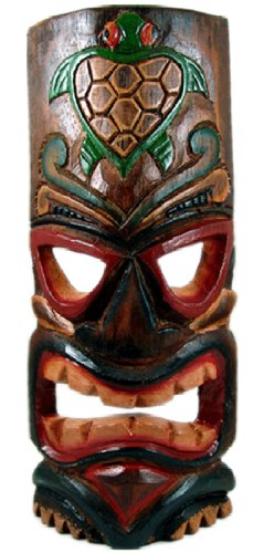 Painted Tiki Mask - Carved Tiki Mask with Painted Honu (Turtle) - Large