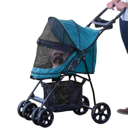 Pet Gear No-Zip Happy Trails Lite Pet Stroller, Zipperless Entry, Pine Green by Pet Gear