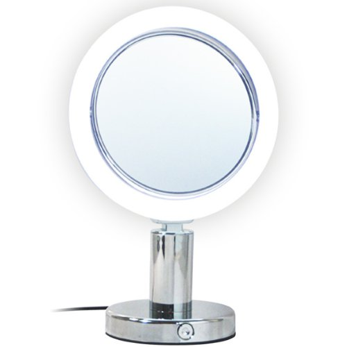 Rucci Normal View Chrome LED Stand Mirror, 7X
