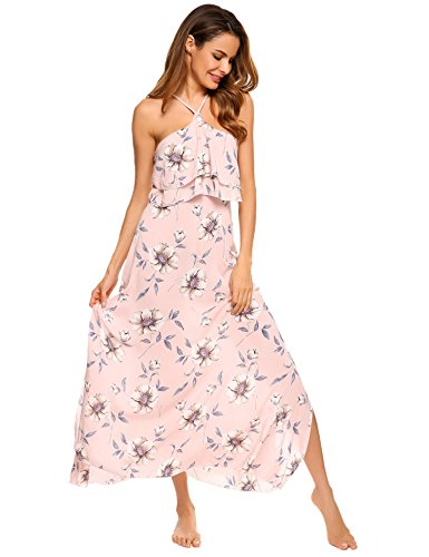 [Women's Summer Boho Dress, Floral Halter Split Bohemia Beach Party Dress] (H And M Flapper Dress)
